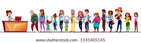 People waiting in queue vector illustration. Crowd long line standing at registration counter with patience of Saudi Arabian and Asian old woman, pregnant girl or black Afro American man with kid boy