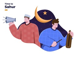 People waking up for the sahur or suhoor time at early morning or subuh time. Ramadan fasting tradition waking up other people from sleep. Calling people for sahur.  Knocking kentongan.