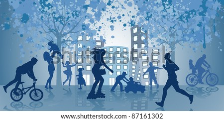 People walk and go in for sports in the open air - stock vector