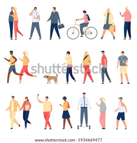 People walk. Flat characters walking with dog outdoor, riding bicycle and hoverboard and running. Men and women crowd on street vector set