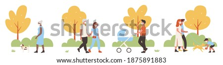 People walk in city park vector illustration set. Cartoon active family characters walking together, playing with dog pet, wearing face medical protective mask, weekend activity isolated on white stock photo