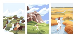 People walk in wild nature alone. Man and woman against the beautiful landscapes vector flat illustrations. Scenic mountain and river view with characters. Concept of freedom, choice, finding your way