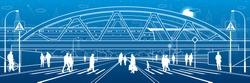 People walk to crosswalk under the railroad bridge. Large highway. Modern night town. Outline Urban scene. Industrial transport illustration. White lines on blue background. Vector design art
