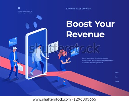 People walk with smartphones and get rewards going through a mobile application screen. Business and Success. 3d isometric vector illustration. Landing page and header concept.