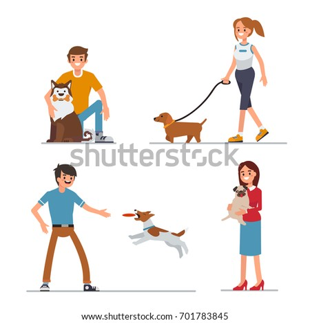 People walking and playing with their dogs. Flat style vector illustration isolated on white background.