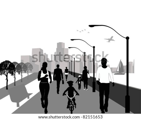 People walking Background illustration with people walking,vector illustration on black and white