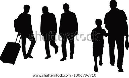 people walking bodies, silhouette vector