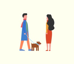 People walking dog on leash, couple and domestic pet vector. Happy man and woman strolling together with canine pedigree with collar. Animal with fur