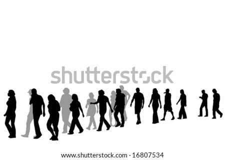 people walking in line