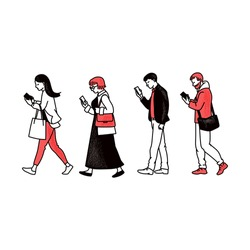People walking in one line and looking at mobile phone screens - smartphone users set holding gadgets from side view. Flat line art style isolated cartoon vector illustration.