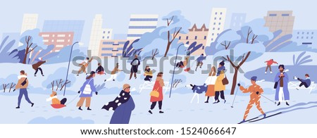 People walking in park. Men, women and children doing winter activities. Snowy landscape panorama. Active characters skiing, ice skating, playing snowballs, making snowman. Flat vector illustration.