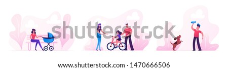 People Walking in Park, Summer Time Outdoors Activity. Woman with Baby Stroller, Parents Teach Child Riding Bicycle, Teenager Playing Frisbee with Dog, City Life. Cartoon Flat Vector Illustration