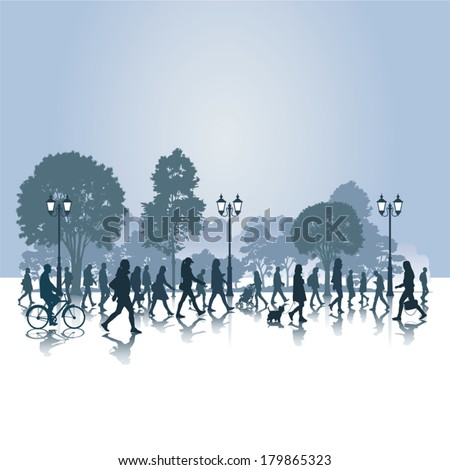 People walking in the park. Vector illustration