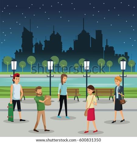 people walking night street