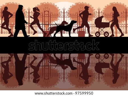 People walking, running and cycling in old vintage city park landscape background illustration vector - stock vector