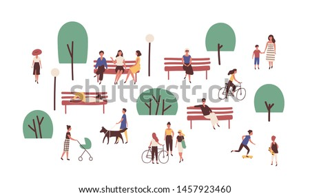 People walking, sitting on benches, skateboarding and riding bicycle outdoor. Cute funny men and women performing leisure and sports activities in park. Flat cartoon colorful vector illustration. stock photo