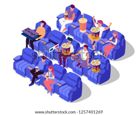 People watch film on movie theatre. Full room. People get great time at cinema. Isometric flat 3d illustration on white background. Popcorn, soda, credit card and eyeglasses on cinema chairs