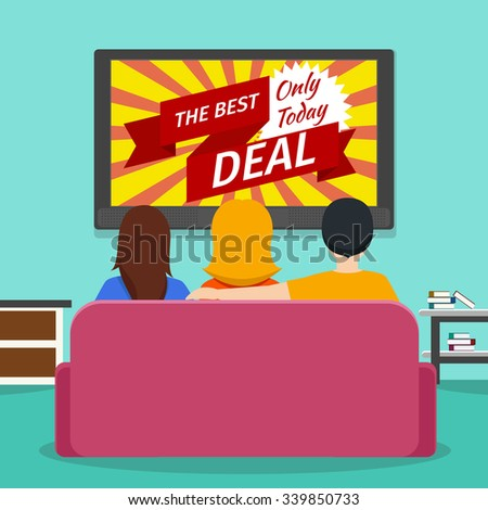 People watching advertising  television. Screen and media technology communication. Vector flat illustration