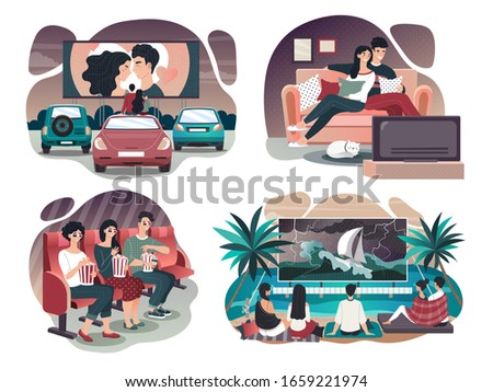 People watching film in movie TV theater, outdoor cinema and at home, vector illustration. Group of friends, romantic couple watch movie together, man and woman cartoon character. Film premiere in