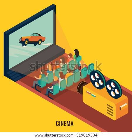 People watching movie in cinema theater. Isometric 3d vector illustrations