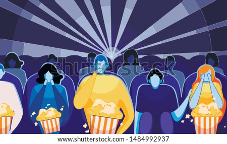 People Watching Movie or Film and Eating Pop Corn Flat Cartoon Vector Illustration. Cinema Audience Sitting in Chair Rows. Movie theater interior. Horror Film, Girl Closing Eyes with Hands.
