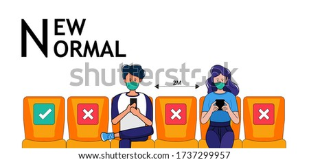 People wear protective mask and face shield make social distancing for shuttle shuttle bus, subway, railway, sky train during CoVID-19. New normal behavior lifestyle in daily after covid-19 outbreak.