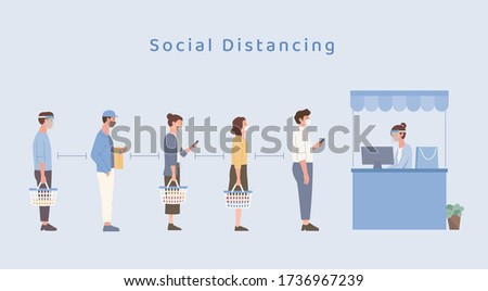 People wearing a mask doing social distancing while standing in a queue in the Shopping mall. People holding a shopping basket and waiting for the payment. Illustration about the new normal.