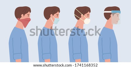 People wearing a surgical mask, n95 mask, handkerchief, and face shield. Illustration about kind of face mask to prevent virus and pollution.