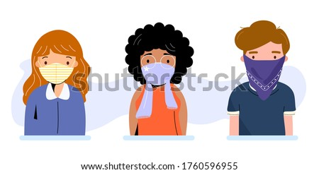 People wearing cloth face covering or washable fabric face mask to help slow spread of Covid19 or Coronavirus. Diverse young adults using handkerchief and scarf protect from virus. Vector illustration