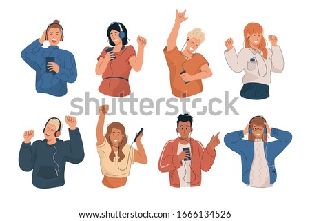 People wearing headphones and earphones. Happy young people listening to music and dancing with mp3 player and smartphone. Flat cartoon characters set Stock photo ©