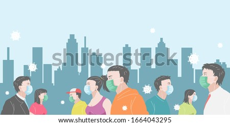 People wearing masks walk in the city to protect themselves from viruses. Men and women or crowd walking on the street wearing a masks to prevent viruses around them. banner or poster design vector
