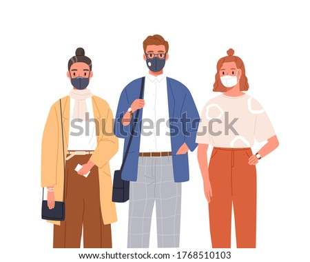People wearing medical mask on face vector flat illustration. Man and woman in protective respirators isolated on white. Person of different ages standing together. Protection from coronavirus