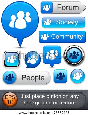 People web blue buttons for website or app. Vector eps10. - stock vector
