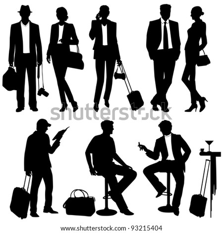 People while traveling - vector silhouettes