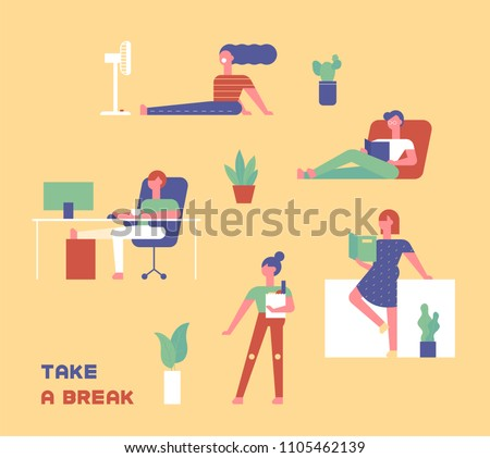 People who are taking a break at home in a variety of ways. flat design style vector graphic illustration set