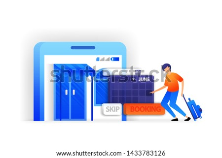 people who arrange travel schedules or reschedule. Book tickets and vacation hotel reservations vector illustration concept for, landing page, web, ui, banner, flyer, poster, template, background, UI