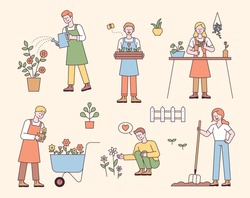 People who do gardening. People are planting or watering flowers. flat design style minimal vector illustration.
