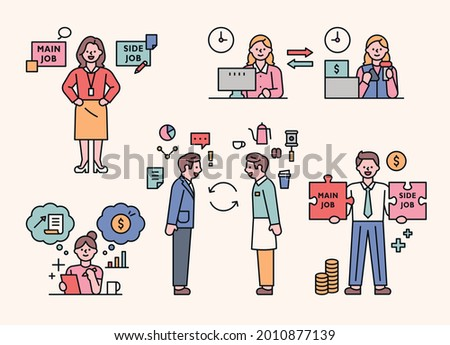 people who do side hustles. Cute characters are making money by doing side jobs. outline simple vector illustration.