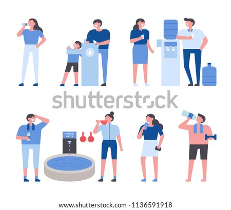 People who drink lots of hot summer water. flat design style vector graphic illustration set