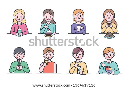 People who eat sweet desserts and drinks. flat design style minimal vector illustration