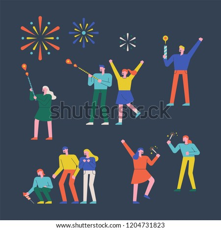 People who enjoy fireworks character set. flat design style vector graphic illustration.