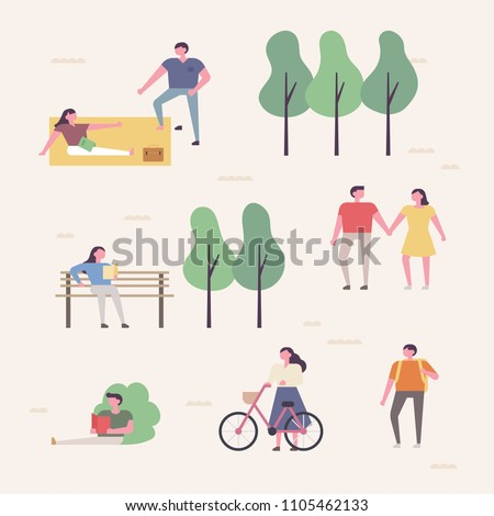 People who enjoy leisure time in the park. flat design style vector graphic illustration set