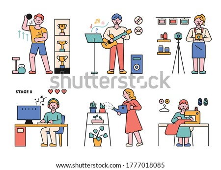People who enjoy various hobbies. Exercise, singing, taking pictures, personal broadcasting, gardening, sewing. flat design style minimal vector illustration.