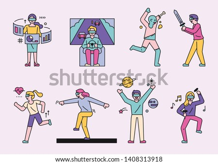 People who enjoy various pleasures wearing VR glasses. flat design style minimal vector illustration