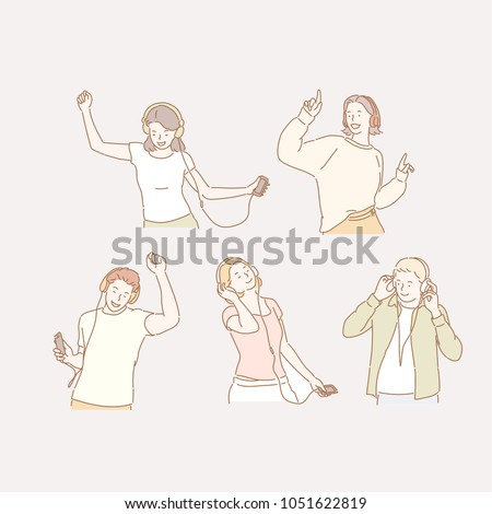people who have earphones in their ears and dance to music. hand drawn style vector doodle design illustrations.