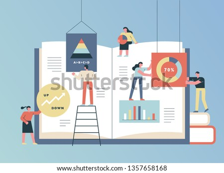 People who insert graphs and collaborate and make books. flat design style minimal vector illustration