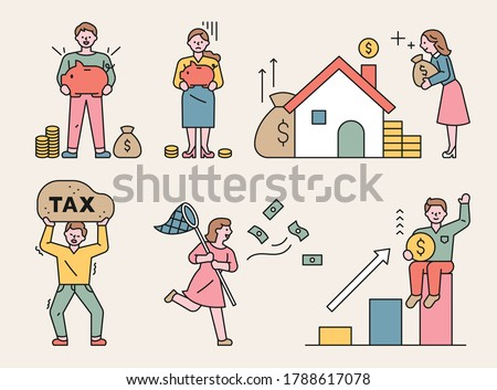 People who want to increase their wealth. flat design style minimal vector illustration.