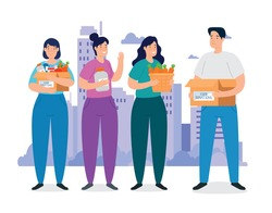 people with boxes of charity donation vector illustration design