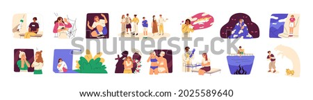 People with different phobias and fears. Psychological problem concept. Scenes set with afraid persons in panic suffering from mental disorders. Flat vector illustration isolated on white background