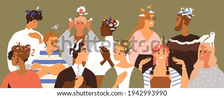 People with different thoughts and feelings. Happy, sad and pensive characters thinking, dreaming, planning and solving problems in mind. Psychological concept. Isolated flat vector illustration